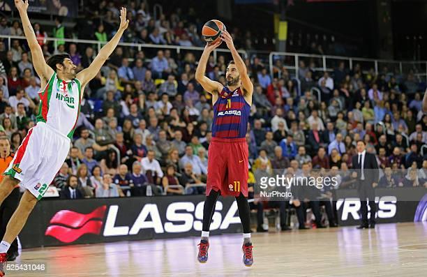 Juan Carlos Navarro and Kerem Gonlum during the match between FC Barcelona and Pinar Karsikaya corresponding to the week 6 of the basketball...