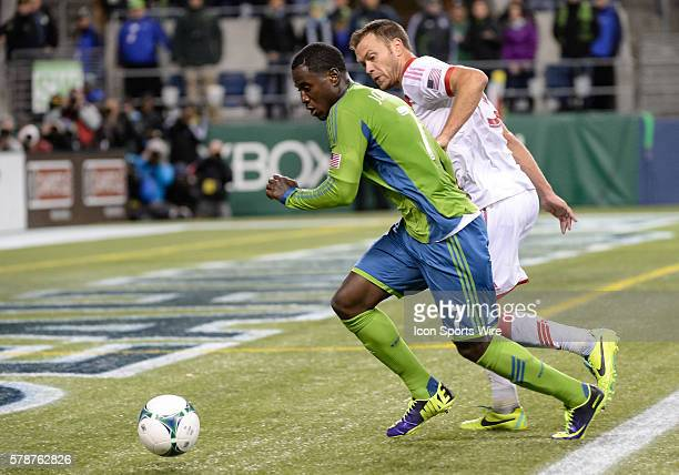 CenturyLink Field Seattle Washington Seattle Sounders FC forward Eddie Johnson pursues the ball against Portland Timbers midfielder Jack Jewsbury as...