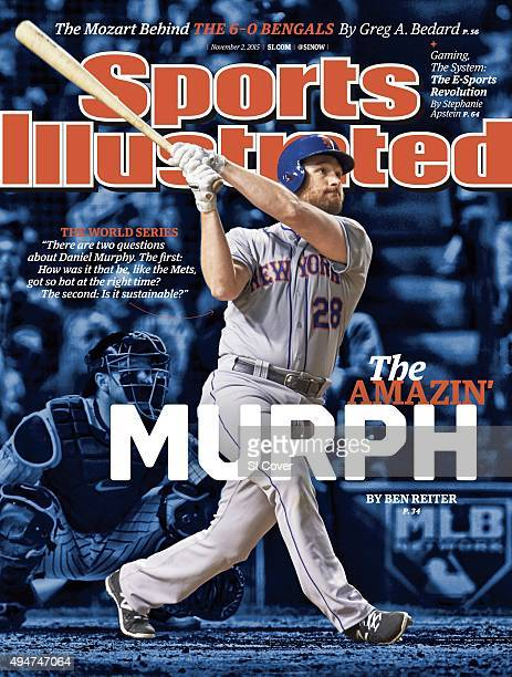 November 2 2015 Sports Illustrated Cover NLCS Playoffs New York Mets Daniel Murphy in action at bat vs Chicago Cubs at Wrigley Field Game 3 Chicago...