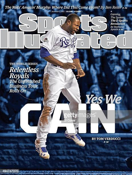 November 2 2015 Sports Illustrated Cover ALCS Playoffs Kansas City Royals Lorenzo Cain victorious after scoring run on RBI single vs Toronto Blue...