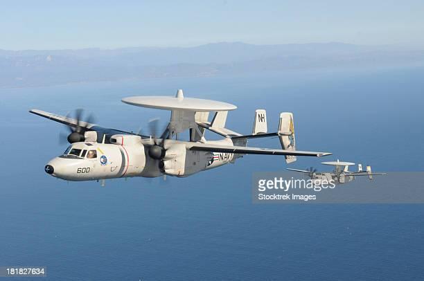November 20, 2012 - Two E-2C Hawkeye aircraft fly over the Pacific Ocean near Ventura, California.