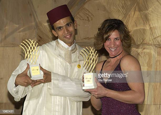 IAAF Male Athlete of the Year Hicham El Guerrouj of Morocco with Female Athlete of the year Stacy Dragila of the United States at the IAAF Awards at...