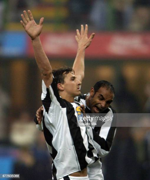 Zlatan Ibrahimovic of Juventus FC celebrates after scoring the goal during the italian Serie A 20042004 13 th round macht played between Inter of...
