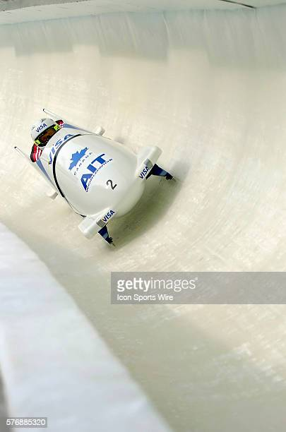 Pierre Lueders pilots the Canada 1 sled to a 4th place finish at the 2005 FIBT AIT World Cup Men's 2Man Bobsleigh Tour at the Verizon Sports Complex...