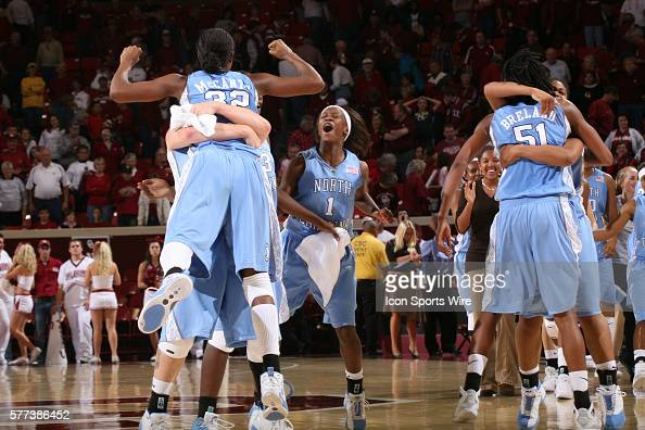 North Carolina players Rashanda McCants She'la White and Jessica Breland celebrate after the University of Oklahoma Sooners 8079 loss to the...