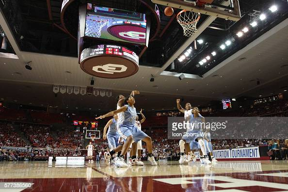 Oklahoma and North Carolina players watch the ball during a free throw during the University of Oklahoma Sooners 8079 loss to the University of North...