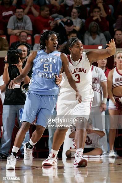 Oklahoma center Courtney Paris plays defense against Tar Hell forward Jessica Breland during the University of Oklahoma Sooners 8079 loss to the...