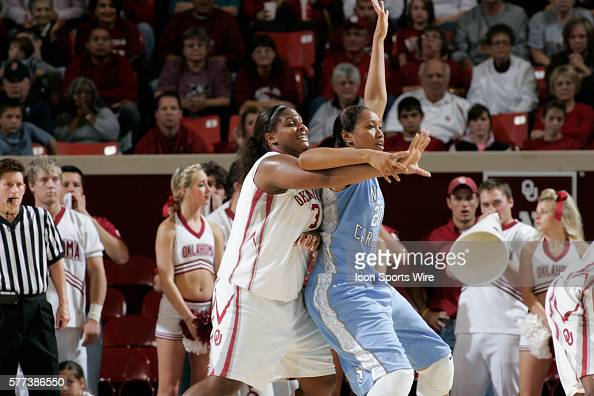 Oklahoma center Courtney Paris plays defense against North Carolina center Chay Shegog during the University of Oklahoma Sooners 8079 loss to the...