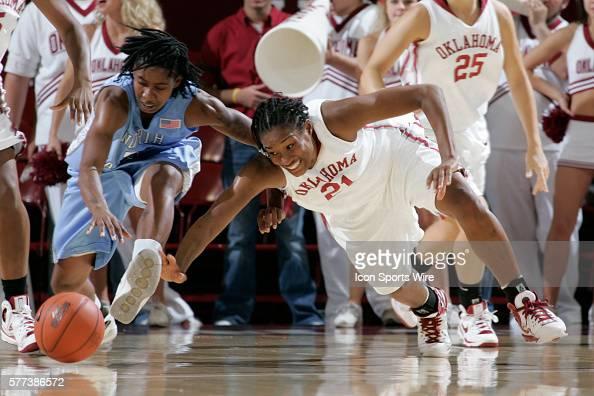 Oklahoma forward Amanda Holloway dives for the ball during the University of Oklahoma Sooners 8079 loss to the University of North Carolina Tar Heels...