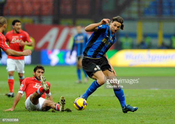 Zlatan Ibrahimovic of FC Internazionale in action during the 'Serie A' 20082009 match round 14th between Inter Milan and Napoli at the 'Giuseppe...