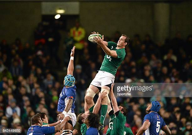 9 November 2013 Devin Toner Ireland wins possession for his side in a lineout ahead of Fa'atiga Lemalu Samoa Guinness Series International Ireland v...
