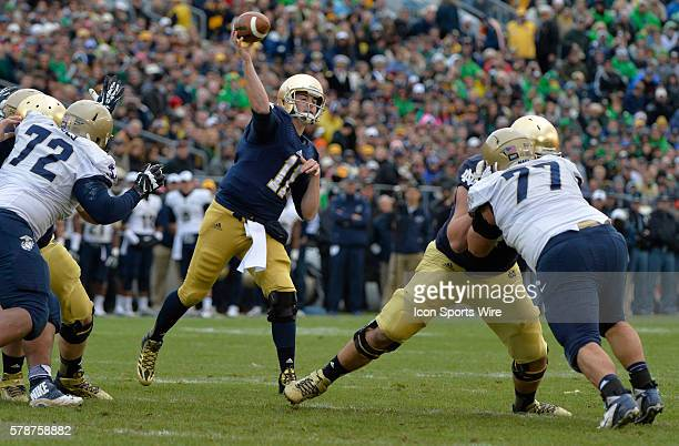 Irish quarterback Tommy Rees throwing a pass against Navy during first half action at Notre Dame Stadium in Notre Dame Indiana