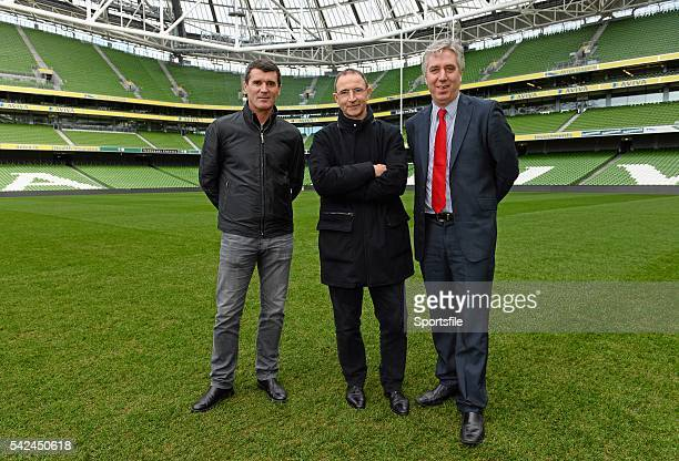 11 November 2013 Republic of Ireland manager Martin O'Neill and assistant manager Roy Keane with FAI Chief Executive John Delaney during a tour of...