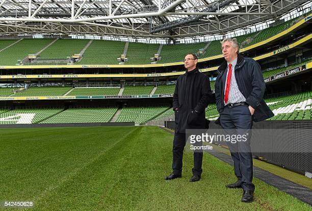 11 November 2013 Republic of Ireland manager Martin O'Neill with FAI Chief Executive John Delaney during a tour of the Aviva Stadium Aviva Stadium...