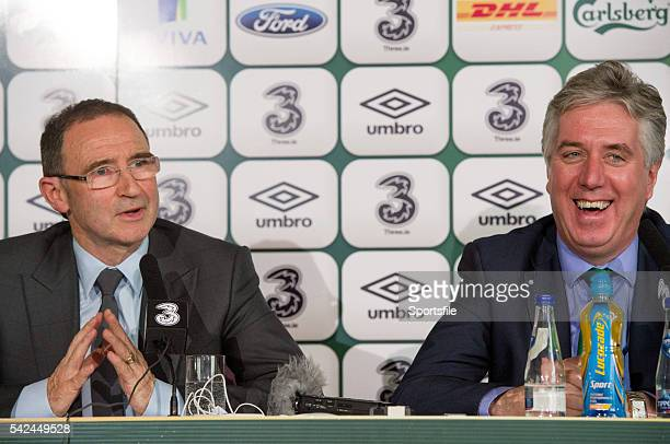 9 November 2013 The new Republic of Ireland manager Martin O'Neill and FAI Chief Executive John Delaney speaking during his first press conference...