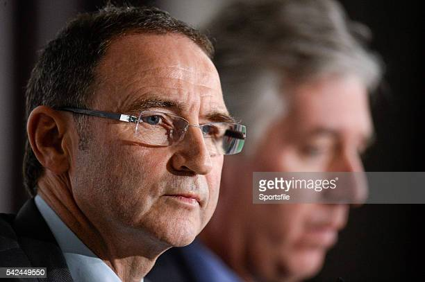 9 November 2013 The new Republic of Ireland manager Martin O'Neill and FAI Chief Executive John Delaney during his first press conference Gibson...