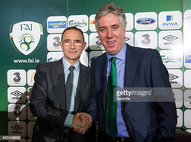 9 November 2013 The new Republic of Ireland manager Martin O'Neill left and FAI Chief Executive John Delaney Gibson Hotel Dublin Picture credit David...