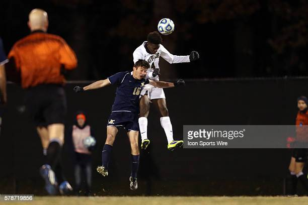 Wake Forest's Tolani Ibikunle heads the ball over Navy's Geoff Fries The Wake Forest University Demon Deacons played the Naval Academy Midshipmen at...