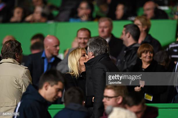14 November 2014 FAI chief Executive John Delaney and his girlfriend Emma English before the UEFA EURO 2016 Championship Qualifier Group D Scotland v...