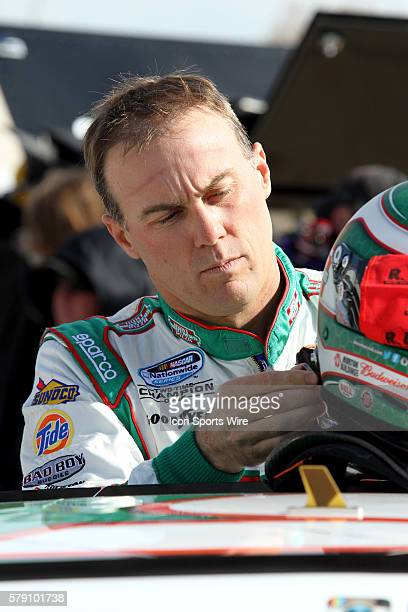 Kevin Harvick driver of the Hunt Brothers Pizza Chevy during qualifying for the O'Reilly Auto Parts Challenge 300 at Texas Motor Speedway in Ft Worth...