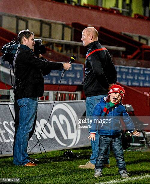 28 November 2014 Munster's Paul O'Connell is interviewed for BBC NI after the game as his fouryearold son Paddy stands by his side Guinness PRO12...
