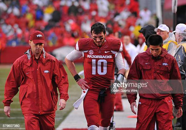 University of Arkansas quarterback Brandon Allen walks towards the locker room after suffering an injury during the second quarter Saturday The...