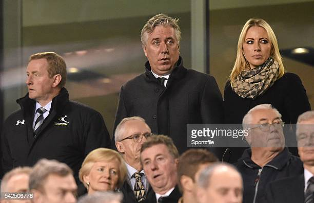 16 November 2015 An Taoiseach Enda Kenny TD left FAI Chief Executive John Delaney and Emma English before the start of the game UEFA EURO 2016...