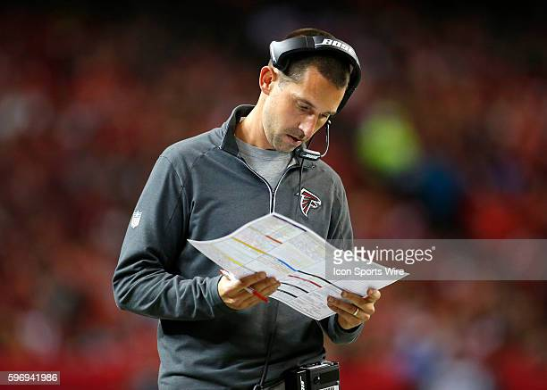 Atlanta Falcons offensive coordinator Kyle Shanahan in the Tampa Bay Buccaneers 2320 victory in overtime over the Atlanta Falcons at the Georgia Dome...