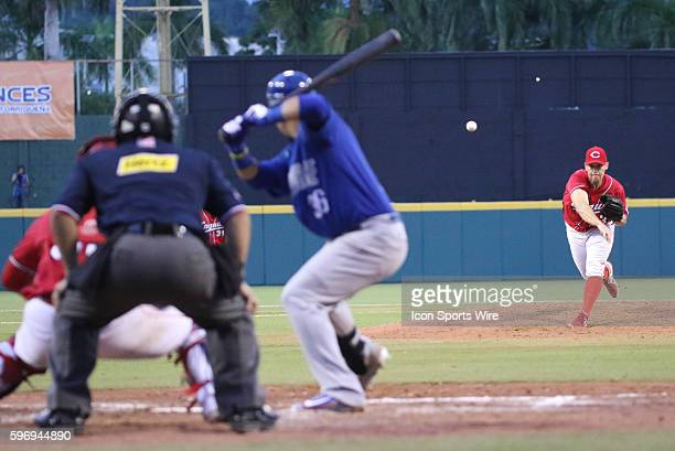 Criollos Derick Blacksher pitching during an LBPRC Baseball game between the Criollos de Caguas and the Cangrejeros de Santurce at the Parque...