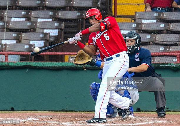 Criollos Hector Olivera batting during an LBPRC Baseball game between the Criollos de Caguas and the Cangrejeros de Santurce at the Parque Yldefonso...