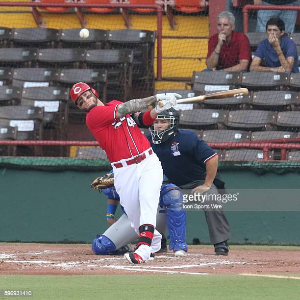 Criollos Trevor Adams batting during an LBPRC Baseball game between the Criollos de Caguas and the Cangrejeros de Santurce at the Parque Yldefonso...