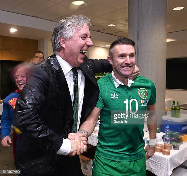 16 November 2015 FAI Chief Executive John Delaney and Robbie Keane in the dressingroom after the game UEFA EURO 2016 Championship Qualifier Playoff...