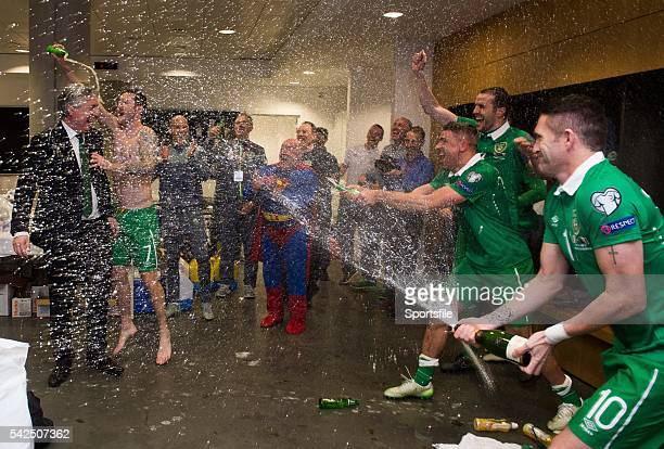 16 November 2015 FAI Chief Executive John Delaney is showered by players in the dressingroom UEFA EURO 2016 Championship Qualifier Playoff 2nd Leg...