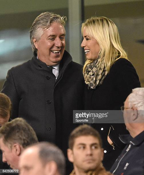 16 November 2015 FAI Chief Executive John Delaney with Emma English before the start of the game UEFA EURO 2016 Championship Qualifier Playoff 2nd...