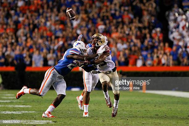 Florida Gators defensive back Marcus Maye is able to keep Florida State Seminoles wide receiver Travis Rudolph from catching a pass in the 2nd...