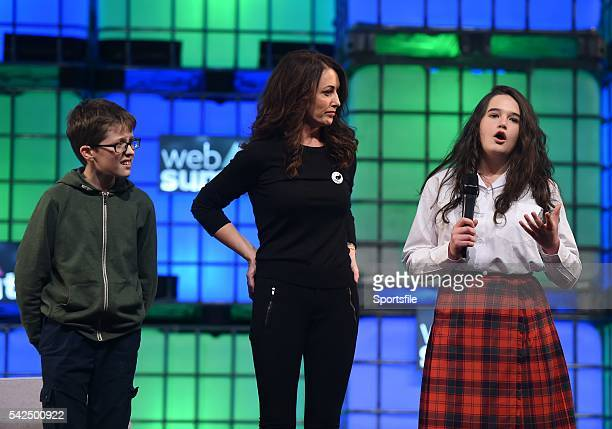 3 November 2015 Mary Moloney Global CEO of Coder Dojo along with Donal Murphy from St Paul's College Clontarf Co Dublin left and Sara Maurer from...
