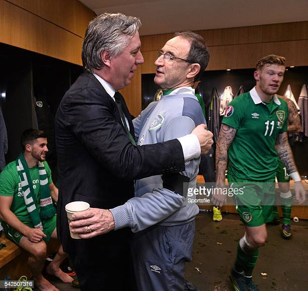 16 November 2015 Republic of Ireland manager Martin O'Neill and FAI Chief Executive John Delaney celebrate in the dressingroom after the game UEFA...