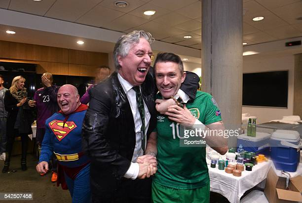 16 November 2015 Republic of Ireland's Robbie Keane and FAI Chief Executive John Delaney celebrate in the dressingroom after the game UEFA EURO 2016...
