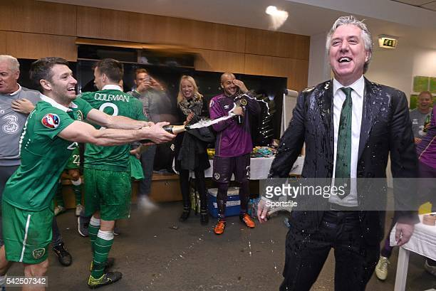 16 November 2015 Republic of Ireland's Wes Hoolahan and FAI Chief Executive John Delaney celebrate in the dressingroom after the game UEFA EURO 2016...