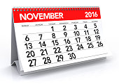 November 2016 Calendar. Isolated on White Background. 3D Rendering