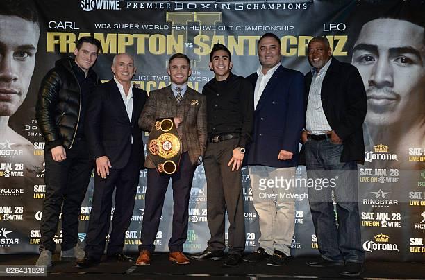 November 2016 Shane McGuigan Barry McGuigan Carl Frampton WBA featherweight champion Leo Santa Cruz Richard Schaefer and Sam Watson after a Carl...