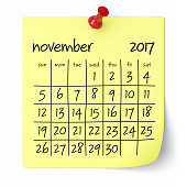 November 2017 - Calendar. Isolated on White Background. 3D Illustration