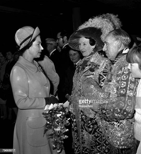 November 22nd Queen Elizabeth II chatting to a Pearly King and Queen at a London concert in celebration of her and the Duke of Edinburgh's 25th...