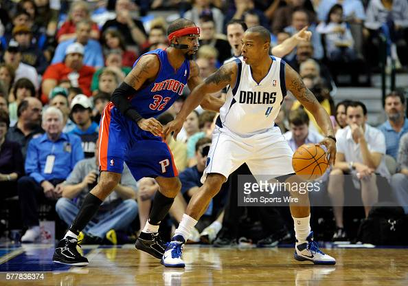Dallas Mavericks guard Caron Butler is defended by Detroit Pistons shooting guard Richard Hamilton during an NBA game between the Detroit Pistons and...