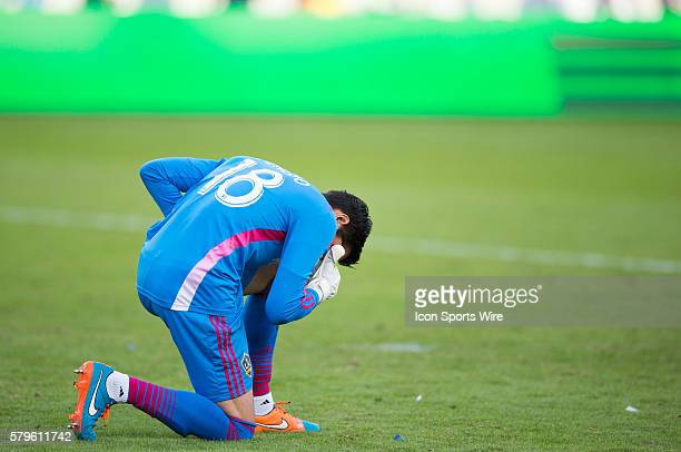 November 23 2014 Los Angeles Galaxy goalkeeper Jaime Penedo prays after defeating Seattle Sounders 10 after the Western Conference Finals game...