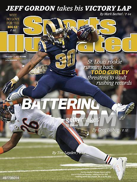 November 23 2015 Sports Illustrated Cover St Louis Rams Todd Gurley in action jumping over Chicago Bears Antrell Rolle during 1st quarter at Edward...