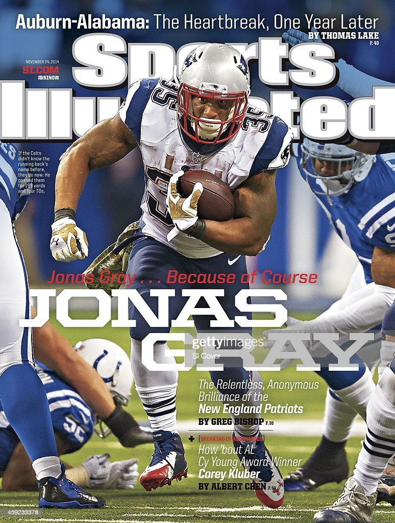 November 24 2014 Sports Illustrated Cover New England Patriots Jonas Gray in action rushing vs Indianapolis Colts at Lucas Oil Stadium Indianapolis...