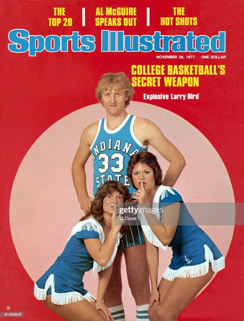 November 28, 1977 Sports Illustrated Cover, College Basketball: Portrait of Indiana State Larry Bird (33) with cheerleaders, Chicago, IL 11/1/1977