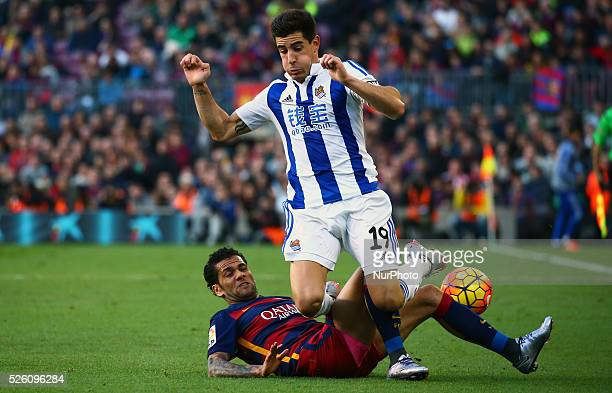 Dani Alves and YouriMartinez during the match against FC Barcelona and Real Sociedad corresponding to the week 13 of the spanish league played at the...
