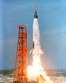 November 29, 1961 - View of the liftoff of Mercury-Atlas 5 from Kennedy Space Center, Florida. The rocket is carrying space chimpanzee Eno.